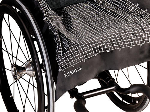 XSENSOR's ForeSite SS Wheelchair Seating System sensor on a wheelchair.